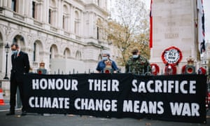 Handout photo issued by Extinction Rebellion showing their protest at the Cenotaph today.