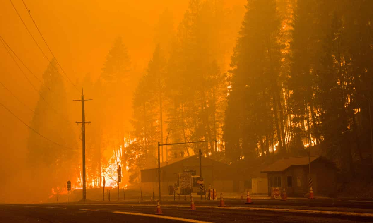 The Dixie fire continues to burn in California on Saturday. Photograph: Ty ONeil/SOPA Images/REX/Shutterstock