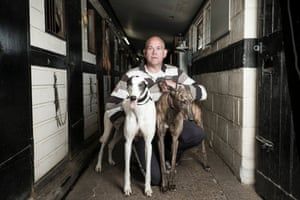 Wimbledon Dog track under threat story by Oliver Bullough. Portrait of Richard Rees a greyhound trainer.