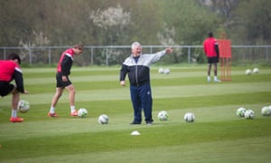 Yeovil manager Paul Sturrock takes training in April 2015, with the Glovers en route to a second straight last-place finish.