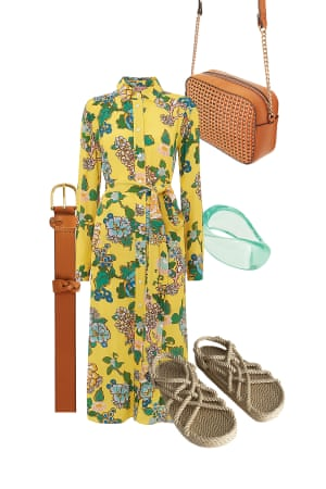 Jo JonesFashion Editor'Style up with a metallic sandal for evening drinks, or down with espadrilles for casual days.' Shirt dress, £145, Kitri at harveynichols.com. Bag, £17.99, hm.com. Ring, £120, Grace Lee at net-a-porter.com. Belt, £18, next.co.uk. Sandals, £99, Nomadic State Of Mind at stories.com.