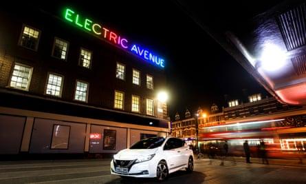 Nissan Leaf on Electric Avenue in Brixton.