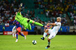 15 June 2019, Argentina v Colombia, Arena Fonte Nova, Salvador.Colombia's goalkeeper David Ospina defends his area from Argentina's Sergio Aguero. Luckily for Aguero there was no contact.
