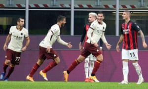 Roma's Marsh Kumbulla (second right) celebrates after scoring six minutes from time to make it 3-3.