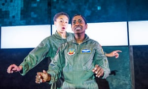 In a 2015 production of Grounded at the Park theatre, north London, the role of the Pilot was shared by BSL signer Nadia Nadarajah and Charmaine Wombwell.