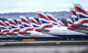 Grounded British Airways planes at Gatwick Airport, as the UK continues in lockdown.
