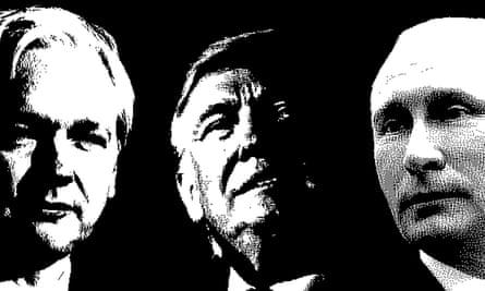 Julian Assange, Donald Trump and Vladimir Putin