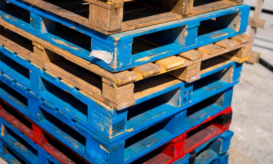 Wooden pallets for shipping