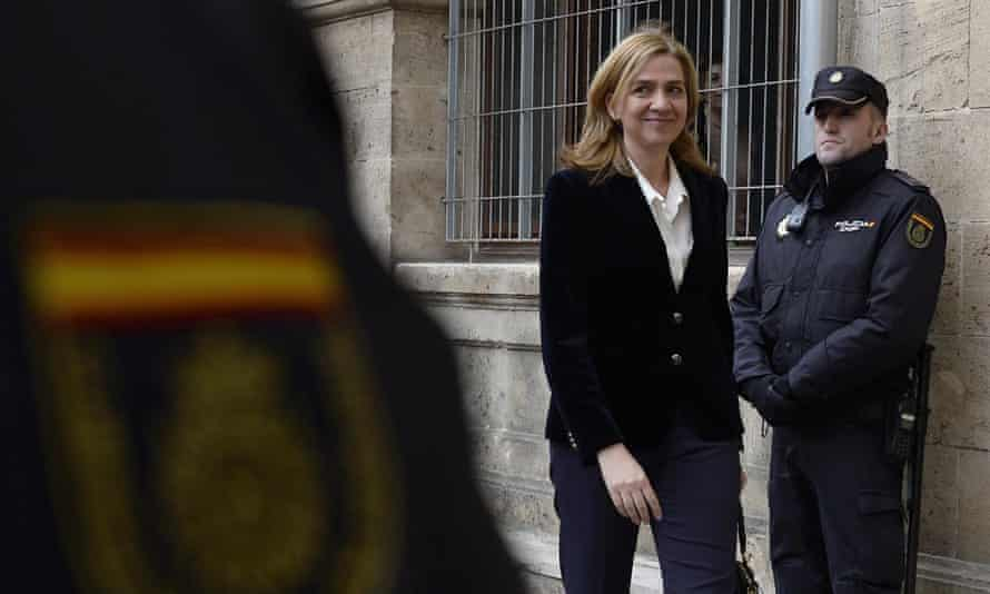 Princess Cristina arrives at the courthouse in Palma de Mallorca in Spain, after being named as a fraud and money laundering suspect.
