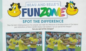 A Birmingham match programme from last season that used the betting logo in a spot the difference challenge on the children's pages.