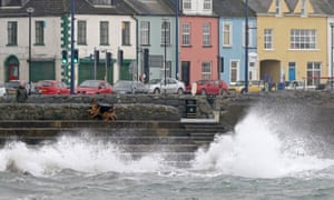 Rough seas in the coastal village of Donaghadee, east of Belfast, during Storm Ophelia.