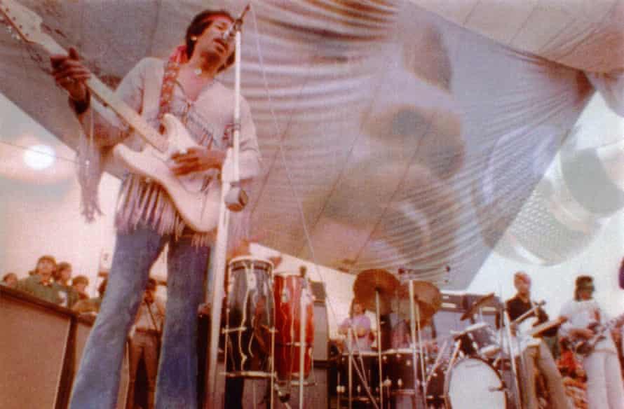 Jimi Hendrix on stage at Woodstock, 1969.