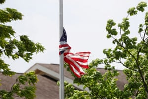A United States flag at half-mast is wrapped around a flagpole outside of the Hammonton Center for Rehabilitation and Healthcare one of numerous nursing homes to have staffing shortages during the national outbreak of the coronavirus disease (COVID-19) in Hammonton, New Jersey, U.S., May 19, 2020. Picture taken May 19, 2020.