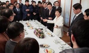 Park Geun-hye speaks to reporters