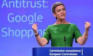 Margrethe Vestager at a June press conference on the European commission's Google Shopping antitrust case.