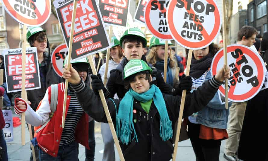 A demonstration against higher tuition fees in 2010. The fees were originally brought in by Tony Blair in 1998