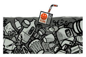 Illustration by David Foldvari of a juice carton labelled 'fun' in a sea of plastic waste