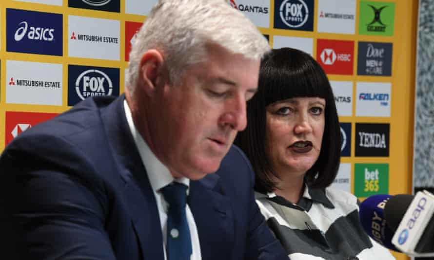 Rugby Australia chairman Cameron Clyne and chief executive Raelene Castle