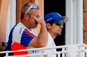 Paul Farbrace and Cook watch from the balcony