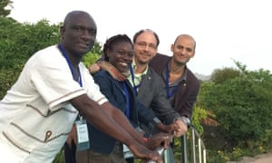 Four researchers who attended the science advice training workshop in Hermanus, South Africa in February 2016. From left to right: Vorster Muchenje, Tolu Oni, Bernard Slippers and Sameh Soror.