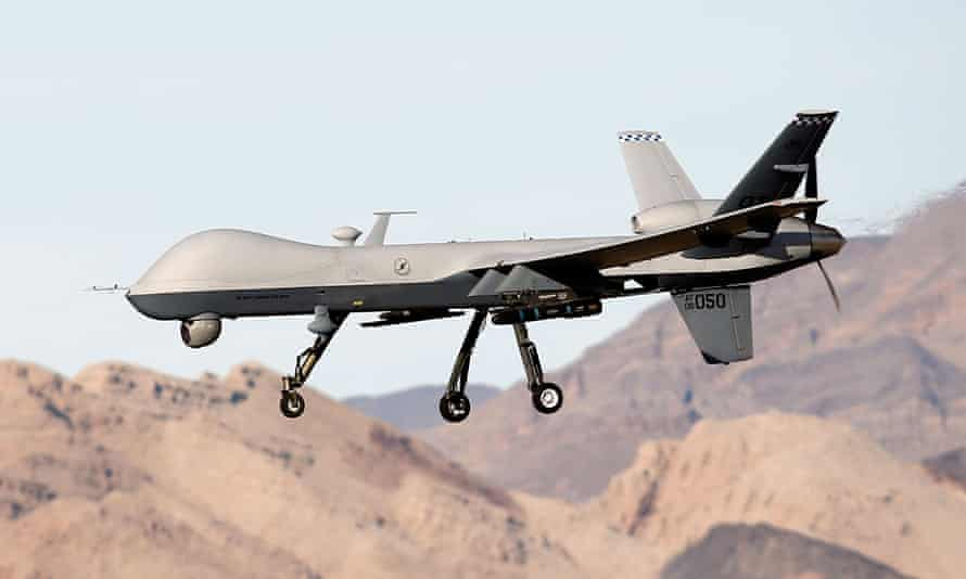 An MQ-9 Reaper remotely piloted aircraft during a training mission at Creech airforce base in Indian Springs, Nevada