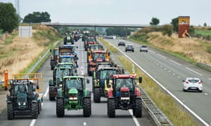 Laval, France Farmers block roads with their tractors during a demonstration against the market prices of beef, pork and diary products