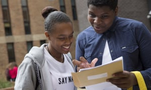Pupils receive their GCSE results at Stoke Newington School last year.