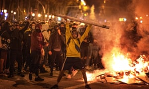 Demonstrators clash with police in Barcelona