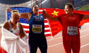Joanna Fiodorow, DeAnna Price and Zheng Wang celebrate after winning silver, gold and bronze respectively.