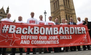 Bombardier workers lobby parliament on 11 October.