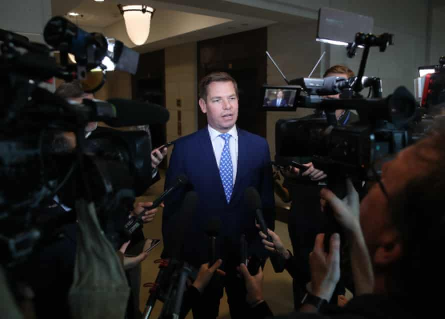 Eric Swalwell talks to the media outside of a closed-door hearing at the US Capitol on 7 November 2019 in Washington DC.
