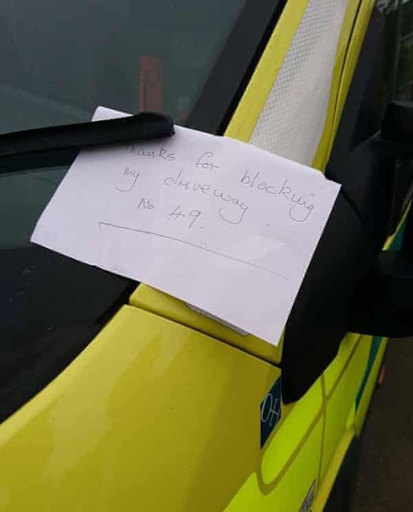 A note left on an ambulance in the West Midlands