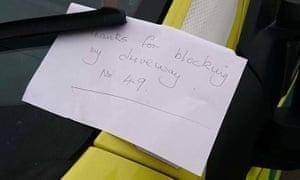 A note left on an ambulance in the west midlands in April 2017.