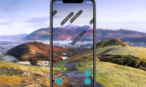 PR shot for Viewranger walking app, showing the app interface on an iPhone screen in close up.