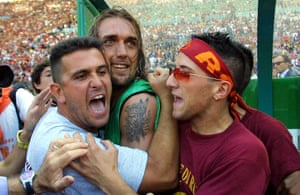 Gabriel Batistuta celebrates winning the title with Roma at the Stadio Olimpico