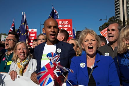 Soubry with the Labour MP Chuka Umunna on the people's vote march in October