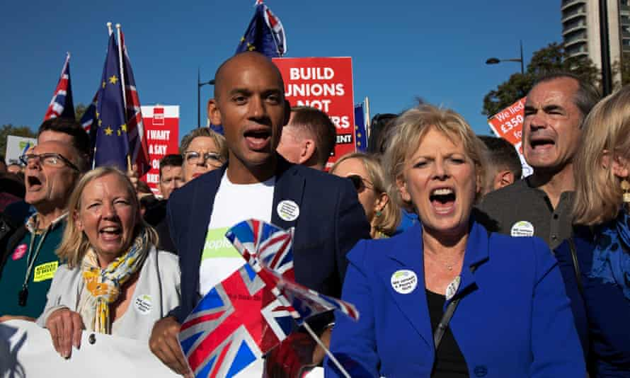 Letter signatories Chuka Umunna and Anna Soubry marching in London last month.