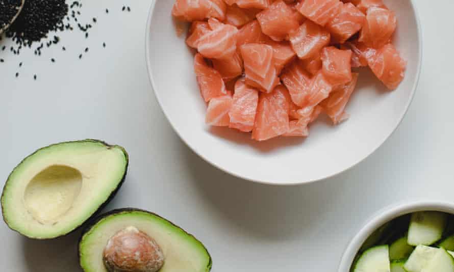 Salmon, avocado and cucumber