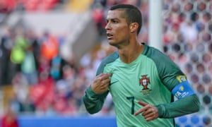 Cristiano Ronaldo celebrates after scoring Portugal's opening goal, which proved to be the winner.