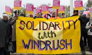 People protest against the treatment of the Windrush generation in London