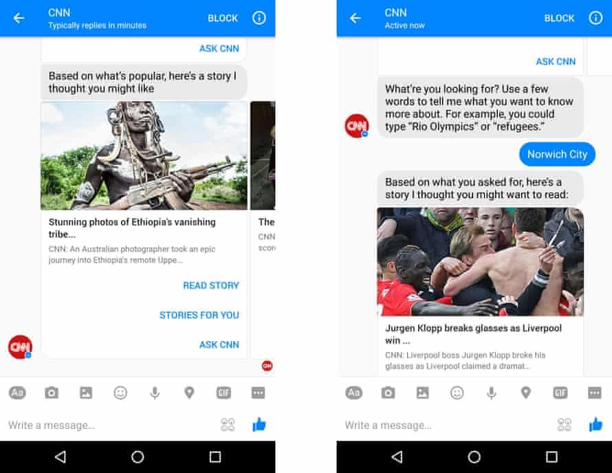 CNN Facebook Messenger bot.