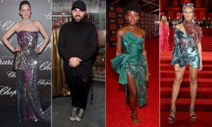 Celebrities Marion Cotillard, left, Lupita Nyong'o and Adwoa Aboah at awards ceremonies in designs by Michael Halpern, second from left.