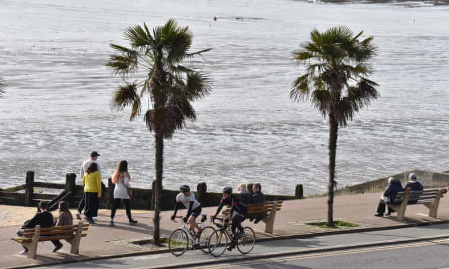 Walkers and cyclists enjoy warm February weather in Southend on Monday.