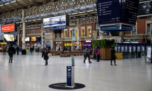 A largely empty Victoria station in London at what would normally be rush hour this morning, on the first day of the new English lockdown.