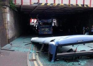 Milkstone Road, Rochdale, after a bus hit the railway bridge