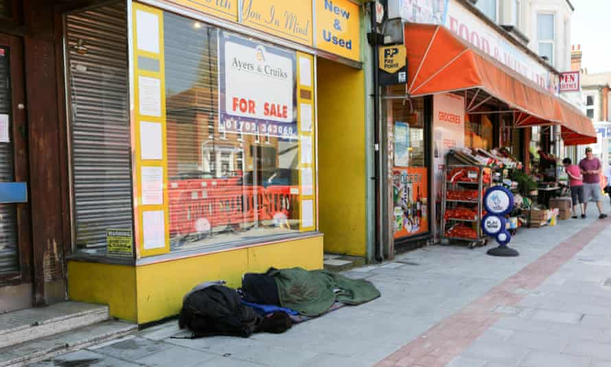 Homeless people asleep on the streets of Southend-on-sea.