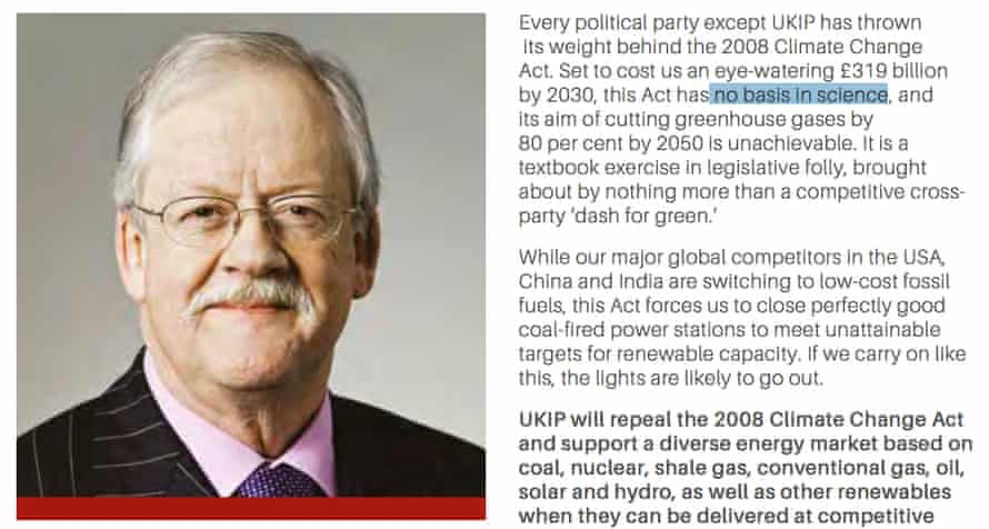 Roger Helmer, Ukip's face of climate change science
