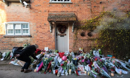 Floral tributes outside the Oxfordshire home of George Michael, where he was found dead on Christmas Day.