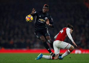 Pogba stamps on Bellerin ad receives a straight red.
