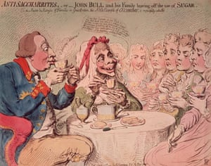 A 1792 Gillray cartoon shows the 'Anti-Saccharrites – John Bull and his family leaving off the use of sugar' in their tea.